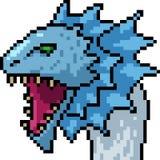Cabeza del monstruo del arte del pixel del vector stock de ilustración
