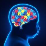 Cabeza del niño con el cerebro del rompecabezas Imagenes de archivo