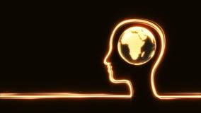 Cabeza del ` s del hombre con el globo stock de ilustración