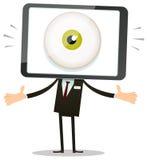 Cabeza del teléfono de Big Brother Eye In Mobile Imagenes de archivo