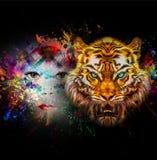 Cabeza del tigre en fondo abstracto Fotografía de archivo