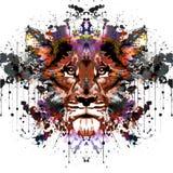 Cabeza del tigre en fondo abstracto stock de ilustración
