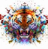 Cabeza del tigre en fondo abstracto Imagenes de archivo