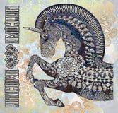 Cabeza del unicornio en fondo manchado floral del mosaico Imagenes de archivo
