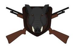 Cabeza del verraco del logotipo de la caza con las escopetas Imagenes de archivo