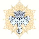 Cabeza dibujada mano del elefante en fondo del ornamento Señor indio de dios libre illustration