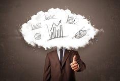 Cabeza elegante de la nube del hombre de negocios con los gráficos dibujados mano Fotos de archivo libres de regalías