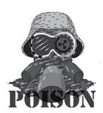 Cabeza en casco Sin fondo La inscripción del veneno Fotos de archivo libres de regalías
