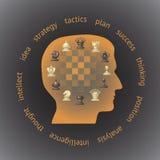 Cabeza en el perfil llenado de los pedazos de ajedrez Fotos de archivo