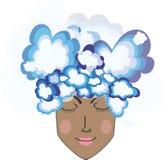 Cabeza en las nubes imagen de archivo