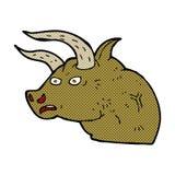 cabeza enojada del toro de la historieta cómica Foto de archivo libre de regalías