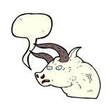 cabeza enojada del toro de la historieta con la burbuja del discurso Imagen de archivo libre de regalías