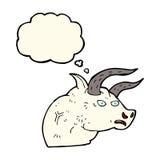 cabeza enojada del toro de la historieta con la burbuja del pensamiento Fotografía de archivo