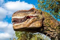 Cabeza enorme de un dinosaurio carnívoro gigante fotos de archivo