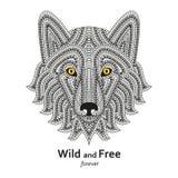Cabeza estilizada creativa del lobo en estilo étnico del boho Bueno para el logotipo, tatuaje ornamental, diseño de la camiseta F ilustración del vector