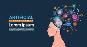 Cabeza femenina con el concepto cibernético de Brain Cog Wheel And Gears de bandera de la inteligencia artificial con el espacio  Fotos de archivo libres de regalías