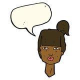 cabeza femenina de la historieta con la burbuja del discurso Imagenes de archivo