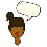 cabeza femenina de la historieta con la burbuja del discurso Imágenes de archivo libres de regalías