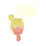 cabeza femenina de la historieta con la burbuja del discurso Fotos de archivo libres de regalías