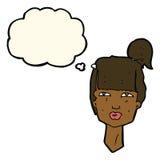 cabeza femenina de la historieta con la burbuja del pensamiento Foto de archivo
