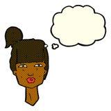 cabeza femenina de la historieta con la burbuja del pensamiento Fotografía de archivo libre de regalías