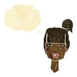 cabeza femenina de la historieta con la burbuja del pensamiento Imagenes de archivo