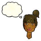 cabeza femenina de la historieta con la burbuja del pensamiento Fotos de archivo libres de regalías