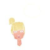 cabeza femenina de la historieta con la burbuja del pensamiento Imagen de archivo