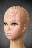 Cabeza femenina del cyborg en fondo gris oscuro Imagenes de archivo