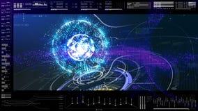 Cabeza futurista de la interfaz de usuario encima del fondo de la pantalla de visualización Imagenes de archivo