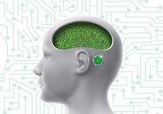 Cabeza humana biónica con los circuitos integrados y los mecanismos en el cerebro fotografía de archivo