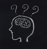 Cabeza humana, cerebro y signo de interrogación en concepto de la idea Foto de archivo libre de regalías
