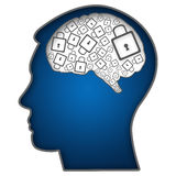 Cabeza humana con Brain Filled With Locks ilustración del vector