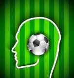 Cabeza humana con el balón de fútbol - fanático del fútbol libre illustration