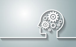 Cabeza humana con el sistema de engranajes como trabajo del símbolo del backgroun del cerebro Imagen de archivo libre de regalías