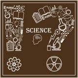 Cabeza humana e iconos de la ciencia Vector Foto de archivo