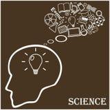 Cabeza humana e iconos de la ciencia Vector Foto de archivo libre de regalías
