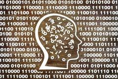 Cabeza humana en código binario Fotografía de archivo libre de regalías