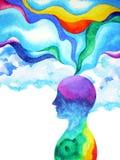 Cabeza humana, poder del chakra, extracto de la inspiración pensando dentro de su mente, pintura de la acuarela stock de ilustración