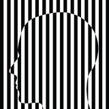 Cabeza humana rayada blanca negra Fotografía de archivo