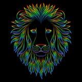 Cabeza iridiscente aislada del esquema del león en fondo negro Línea rey del arco iris de la historieta del retrato de los animal Fotografía de archivo