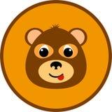 Cabeza linda del oso en un marco redondo Fotografía de archivo
