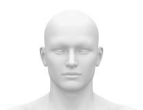 Cabeza masculina blanca en blanco - vista delantera Imagen de archivo