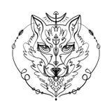 Cabeza modelada del lobo, cara animal en el fondo blanco Tótem africano o indio, estilo del boho, diseño de destello del tatuaje ilustración del vector