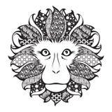 Cabeza modelada Ornamental del mono stock de ilustración