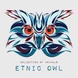 Cabeza modelada étnica del búho en el fondo gris/el diseño africano/del indio/del tótem/del tatuaje Uso para la impresión, cartel Foto de archivo