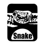 Cabeza monocromática animal de la serpiente del logotipo del calendario chino stock de ilustración
