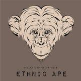 Cabeza negra étnica del mono diseño del tótem/del tatuaje Uso para la impresión, carteles, camisetas Ilustración del vector Foto de archivo libre de regalías