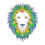 Cabeza negra aislada del esquema del león con la melena iridiscente en el fondo blanco Línea rey del arco iris de la historieta d Imagen de archivo