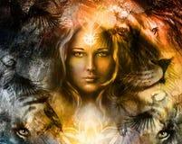 Cabeza poderosa de pintura del león y del tigre, y místico Fotografía de archivo